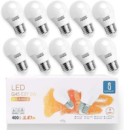 Aigostar -10 x E27 Bombilla LED G45, Casquillo gordo 5W, 400lm, Luz calida 3000K, no regulable- Caja de 10 unidades [Clase de eficiencia energética A+]