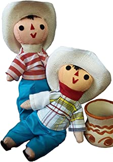 Jose and Juan Mexican Rag Doll 2 Pack Compadres Small Toys Handcraft Traditional Costume 7'' Assorted Colors & Models Bundle Premium Materials