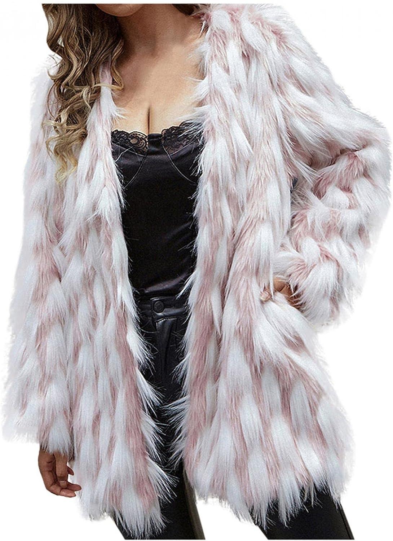 HUOJING Womens Faux Fur Cardigan Contrast Color Fuzzy Coats Long