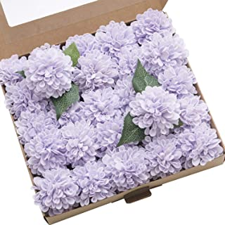 Ling's moment 25pcs Real-Looking Artificial Flowers Lilac Fake Dahlia Daisy Flower with Stem for Wedding Bridal Shower Bride's Bouquet Arrangement Decorations