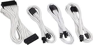 upHere 500mm Cable con Manguito - Extensión de Cable para Fuente de alimentación con peines para Cable 24 Pin 8PIN 6PIN 4+4 Pin, Blanco-SC504