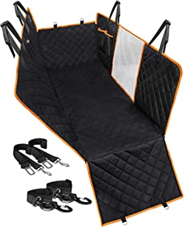 Aushbury Dog Car Seat Cover with Seat Belt Water proof Wear-Proof Pet car seat cover Mesh Viewing Window & Storage Pockets...