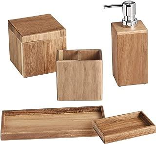 Shireen Home Zen Acacia Wood Bathroom Accessory Complete Set of 5. Soap or Lotion Dispenser, Toothbush Holder, Sundry Jar, Soap Dish, Towel Tray
