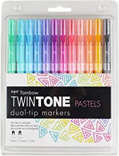 Tombow 61501 TwinTone Marker Set, Pastel, 12-Pack. Double-Sided Markers Perfect for Planners, Journals, Doodling, and More!