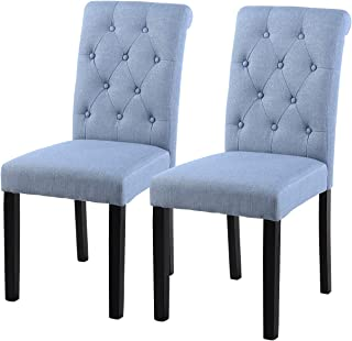 YEEFY Fabric Habit Solid Wood Tufted Parsons Dining Chair (Set of 2) (Light Blue)