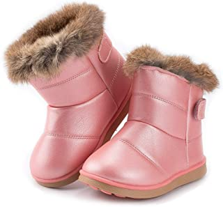 Meckior Toddler Girls Boys Outdoor Waterproof Fur Lined Snow Boots PU Leather Warm Winter Slip Resistant Cold Weather Flat Booties Kids Shoes