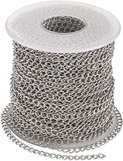 Pandahall 82 Feet/25M Soldered 304 Stainless Steel Curb Chains 4x3x0.6mm Stainless Steel Color Plated for Jewelry Making