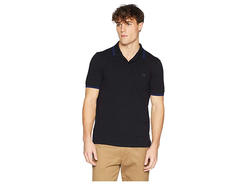 Fred Perry Twin Tipped Shirt (Black/Medieval Blue) Men's Short Sleeve Knit