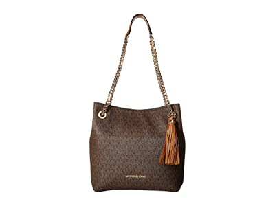 MICHAEL Michael Kors Jet Set Chain Signature Medium Shoulder Tote (Brown) Cross Body Handbags