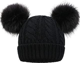 Women Winter Cable Knit Fleece Lined Warm Pom Pom Beanie Hat