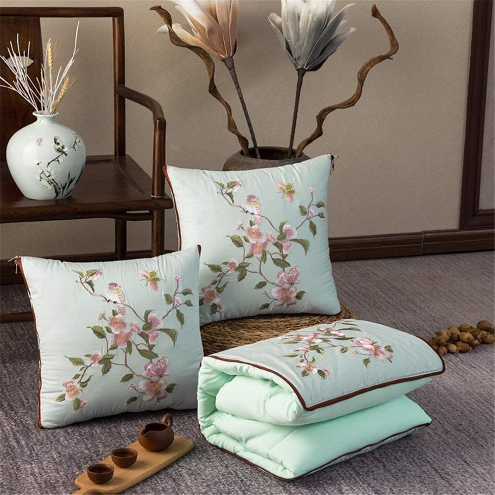 Travel Blanket Throw Pillow Satin Pill Embroidered Max 88% OFF New Free Shipping Chinese-Style