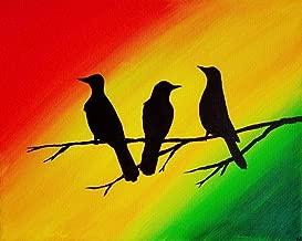 Three Little Birds 9x12 Inch Wall Art Print Rasta Colors Home Decor