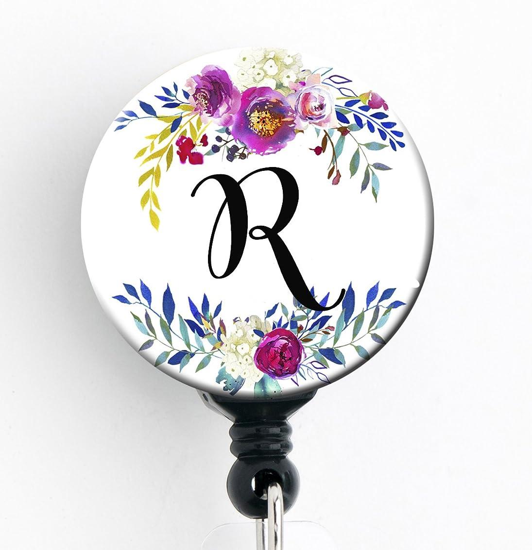 ヒューマニスティック奪うエイリアスR?–?Watercolor Floral Wreath?–?格納式バッジリールwith回転クリップとextra-long 34インチコード?–?バッジホルダー