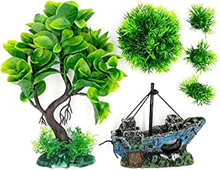 نباتات حوض السمك الصغيرة لخزان الأسماك الزينة بطول 22.06 سم شجرة بلاستيكية صناعية ونباتات ذهبية لأسماك وأسماك وأسماك وأحوا...