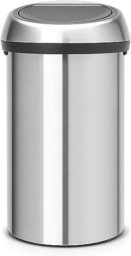 Brabantia 484506 Touch Bin 60 Litre - FPP Matt Steel Waste Bin, 60 Litre