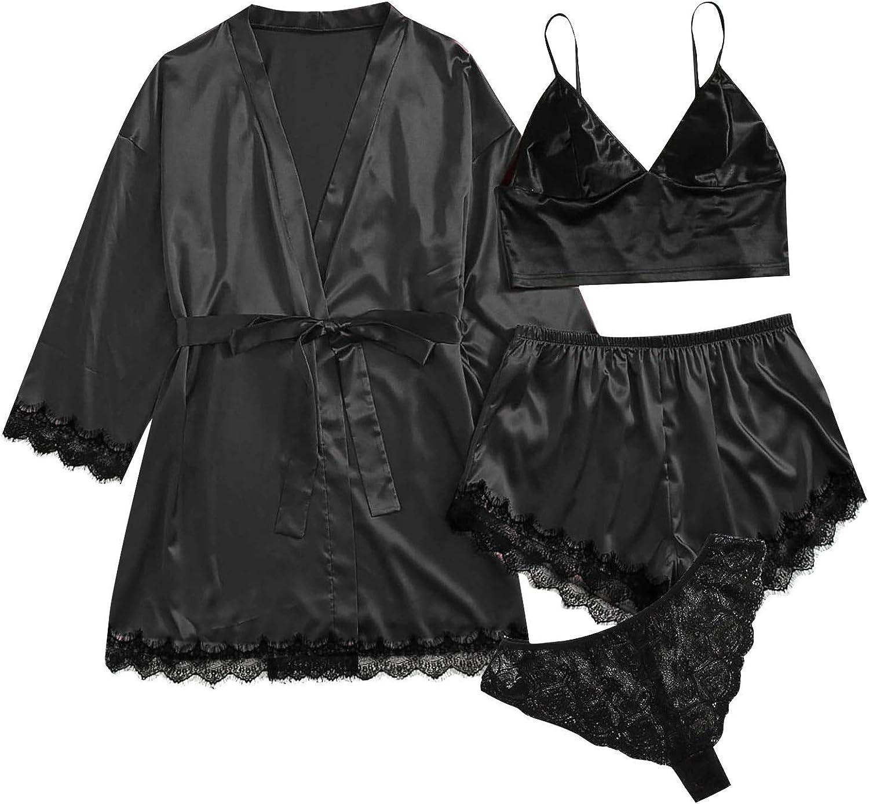 Forwelly Loungewear Pajamas Set for Women Sexy 4 Piece Sexy Satin Robe + Bra + Panty + Shorts Lingerie Nightwear
