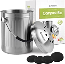 Housewares Solutions Leak Proof Stainless Steel Compost Bin 1.3 Gallon – Includes 4 Extra Free Filters