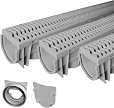 Source 1 Drainage Trench & Driveway Channel Drain with Concrete Grey Grate