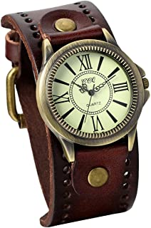 JewelryWe Fathers Day Gifts Vintage Wrist Watch Wide Leather Strap Band Cuff Quartz Watches for Men
