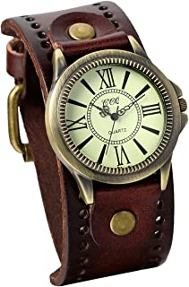 Vintage Wrist Watch Wide Leather Strap Band Cuff Quartz Watches for Men for Halloween