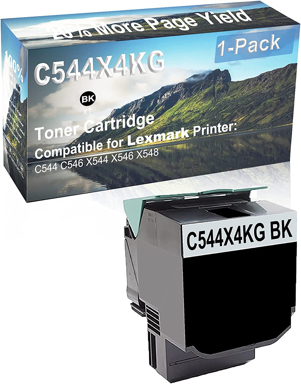 1-Pack (Black) Compatible C544 C546 X544 X546 X548 Printer Toner Cartridge High Capacity Replacement for Lexmark C544X4KG Toner Cartridge