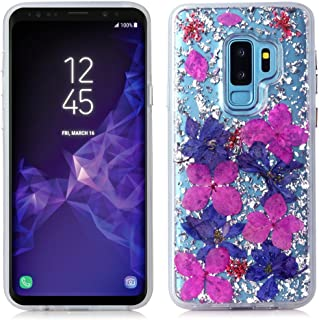 Galaxy S9 Plus Case,Bpowe Made with Real Flowers Luxury Glitter Case with Durable Shockproof 2-Layers Solid PC Cover Case + Flexible TPU Frame for Samsung Galaxy S9 Plus (Purple Petals)