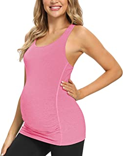 GLAMIX Women's Maternity Active Top Short Sleeve/Sleeveless Workout Athletic Pregnancy Shirt