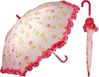 Pink Monkey Umbrella for Girls - Manual Open and Close 32 inch - by Adjore