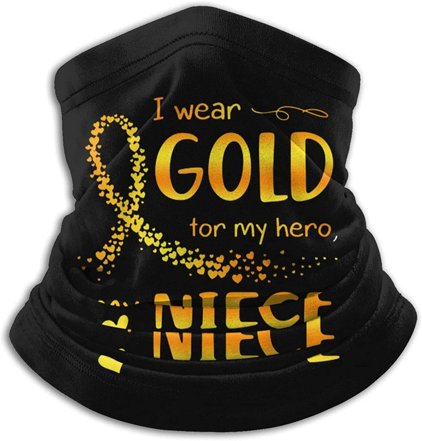 Childhood cancer awarenes golden ribbon unisex winter neck gaiter face cover mask, windproof balaclava scarf for fishing, running & hiking