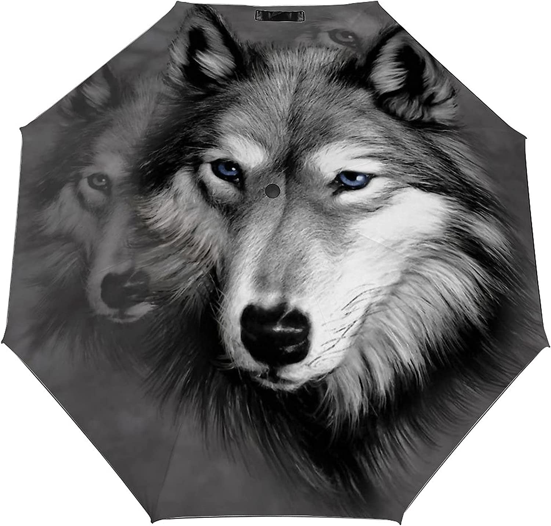 Wolf Umbrella Fees free Windproof Portable Clos Super sale Auto Travel Open