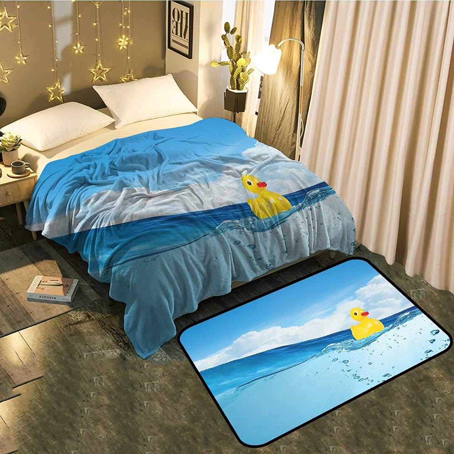 Bedside Blanket Doormat suitLittle Duckling Toy Swimming in Pond Pool Sea Sunny Day Floating on Water Cozy and Durable Blanket 35 x60  Mat 22 x60