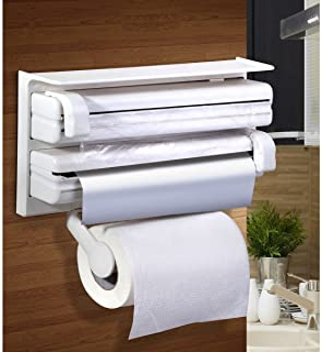 Portable Triple Paper Dispenser for Cling Film Wrap Aluminium Foil and Kitchen Roll Holder