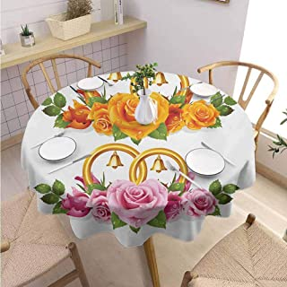 DILITECK Orange and Pink Decorative Round Tablecloth Bunch of Roses and Rings with Bells Fresh Petals Green Leaves Waterdrips Fabric Tablecloth Diameter 60