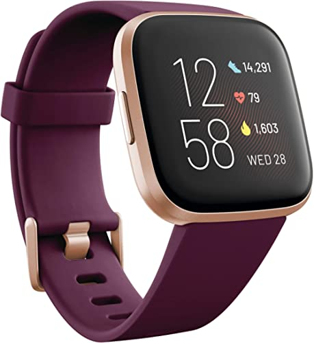 Fitbit Versa 2 Health and Fitness Smartwatch with Heart Rate, Music, Alexa Built-In, Sleep and Swim Tracking, Bordeau...