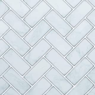 CTG, Self-Adhesive Herringbone Peel and Stick Wall Tile, 10 x 10 inches, Marble, 6 Pieces