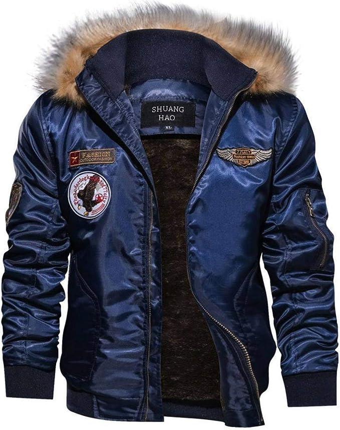 Shuanghao Men's Giacca da Militare Bomber Tattico Casual da Uomo, Hooded Spesso Caldo Giacca Cotone Felpa Jacket Parka Invernale da Uomo,Motociclista ...