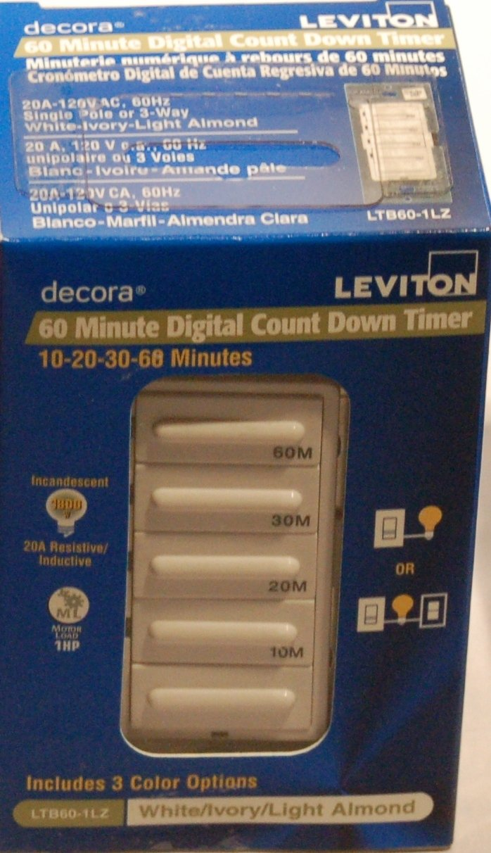 Leviton LTB1555 155LZ Decora 155800W Incandescent/155A Resistive Inductive 155HP  Preset 1550 155 15 1555 Minute Countdown Timer Switch, White/Ivory/Light Almond  ...