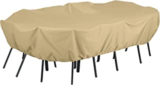 Classic Accessories Terrazzo Water-Resistant 128 Inch Rectangular/Oval Patio Table & Chair Set Cover