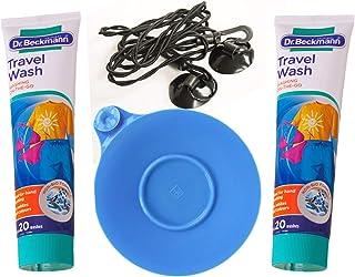 Terrevista Trails Travelling - Kit de lavandería universal de silicona, 2 tapones para fregadero de Dr. Beckmann, gel de lavado no biológico, 1 tendedero sin pinzas