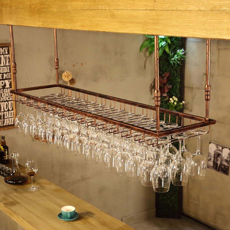 Tony Home- Metal Wine Rack Retro Iron Hanging Upside Down Stemware Glass Holder Hanging Wine Bottle Rack Wine Rack Hanging Mounted Wine Cabinets (color   Retro Copper, Size   60cm35cm)