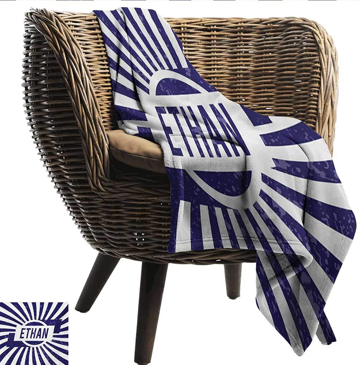 Davishouse Ethan Decorative Throw Blanket Grunge Letters in Navy bluee in a Circle with Wavy Stripes Boys Birthday All Season for Couch or Bed 50  Wx60 L