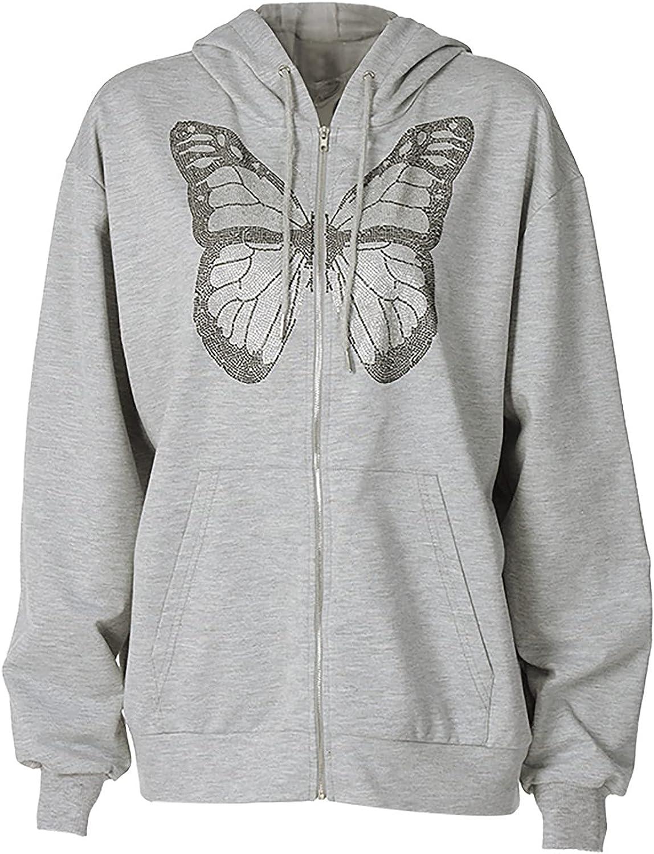 Zip up Hoodie Women Y2K Gothic Butterfly Print Sweatshirt Early Autumn Casual Pockets Tops Long Sleeve Jacket