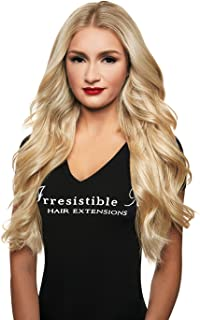 IRRESISTIBLE ME Clip in Hair Extensions Platinum Blonde (#613) - 100% Human Hair Extensions clip ins Remy (Remi) Hair Straight Hair Clips Pieces Full Head Set - Different Weight (g) and Length (Inch)