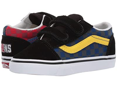 Vans Kids Old Skool V (Infant/Toddler) ((OTW Rally) Checker/Multi/Black) Boys Shoes