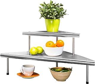 WENKO Étagère d'angle de cuisine Massivo Duo à 2 rayons, Acier inoxydable, 48.5 x 31 x 48.5 cm, Argent