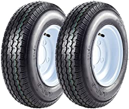 Set of 2 4.80-8 Trailer Tires and Rims 4 Lug Boat Wheel 480-8 4.8-8 4.80/4.00-8 4 Hole, Load Range C, 6PR