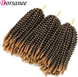 8 Inch Spring Twist Hair Crochet Braids 3 Packs Fluffy Twist Crochet Hair Extensions Ombre Black Honey Blond Passion Twist (1B/27#)