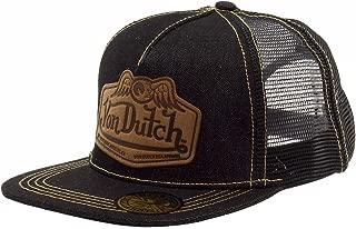 Men's Leather Patch Black/Tan Trucker Cap Hat (One Size Fits Most)