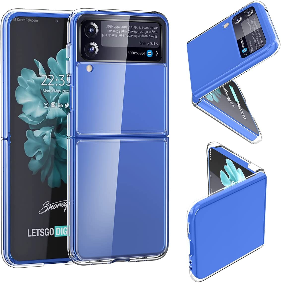 SunStory Compatible with Samsung Galaxy Z Flip 3 Clear Case,Galaxy Z Flip 3 2021 Case [Slim Thin] Crystal Hard PC and Soft TPU Bumper Shockproof Anti-Scratch Transparent (Clear)