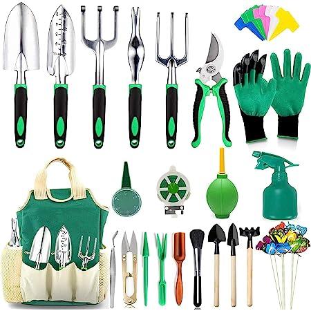 AOKIWO 83 Pcs Garden Tools Set Succulent Tools Set, Heavy Duty Aluminum Manual Garden Kit Outdoor Gardening Gifts Tools for Men Women (Green)